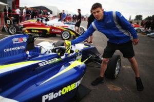 kaylen frederick | pilot one racing | handshake with team member