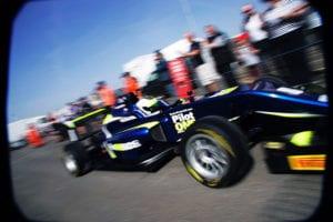 kaylen frederick | pilot one racing | race car exiting pits