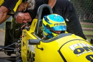 kaylen frederick   pilot one racing   team checking car