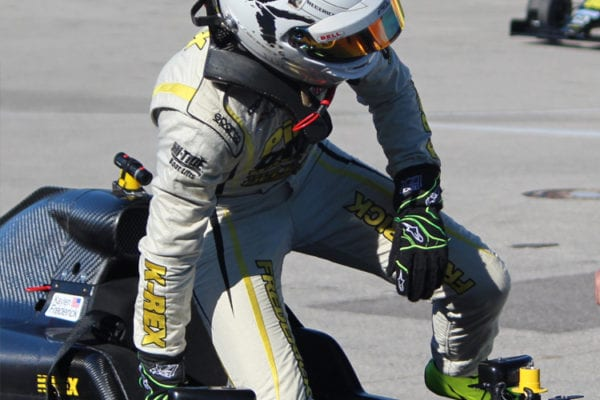 kaylen frederick | pilot one racing | kaylen getting out of car